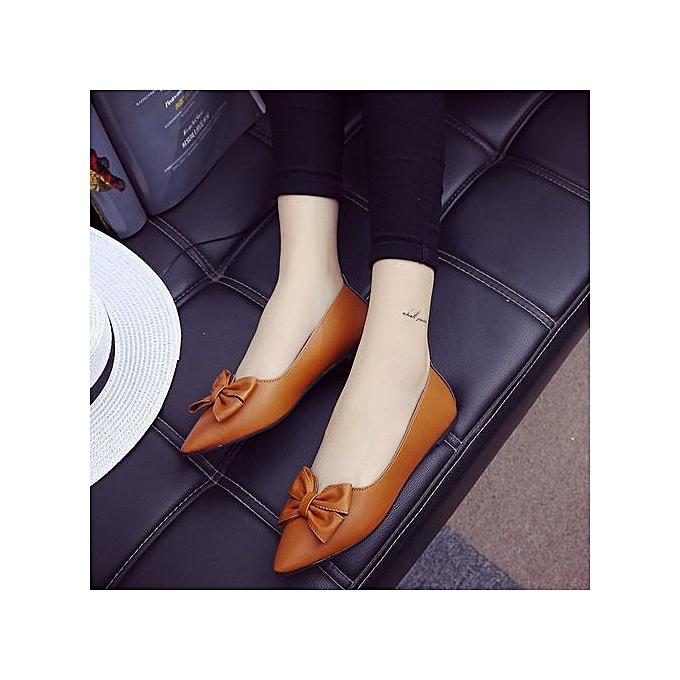 Fashion New Casual femmes Lady Pointed Toe Bowknot Flats Classic Slip On Pump Boat chaussures marron à prix pas cher    Jumia Maroc