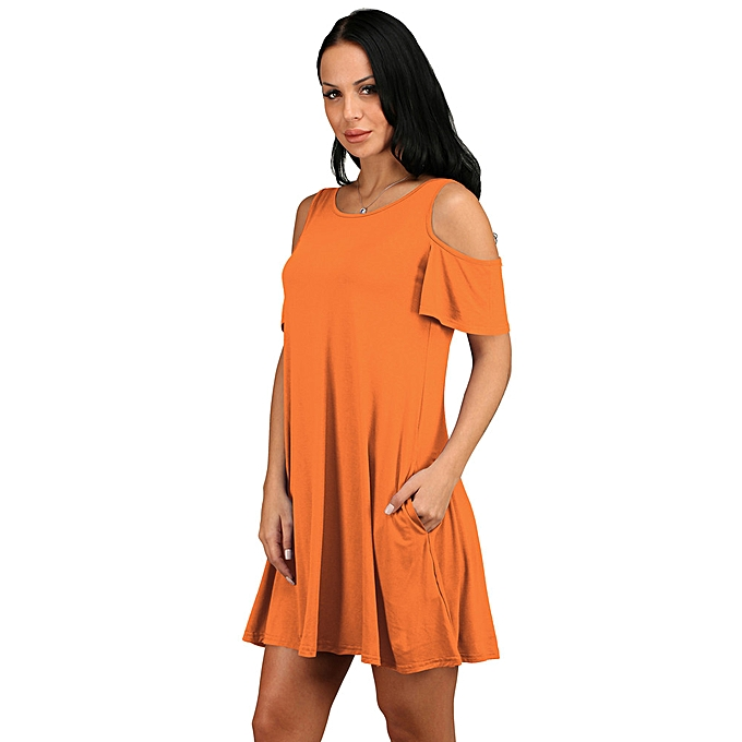 Fashion schoolcool femmes Summer Cotton Loose Solid Off-Shoulder Casual Sundress Mini Dress OR XL à prix pas cher