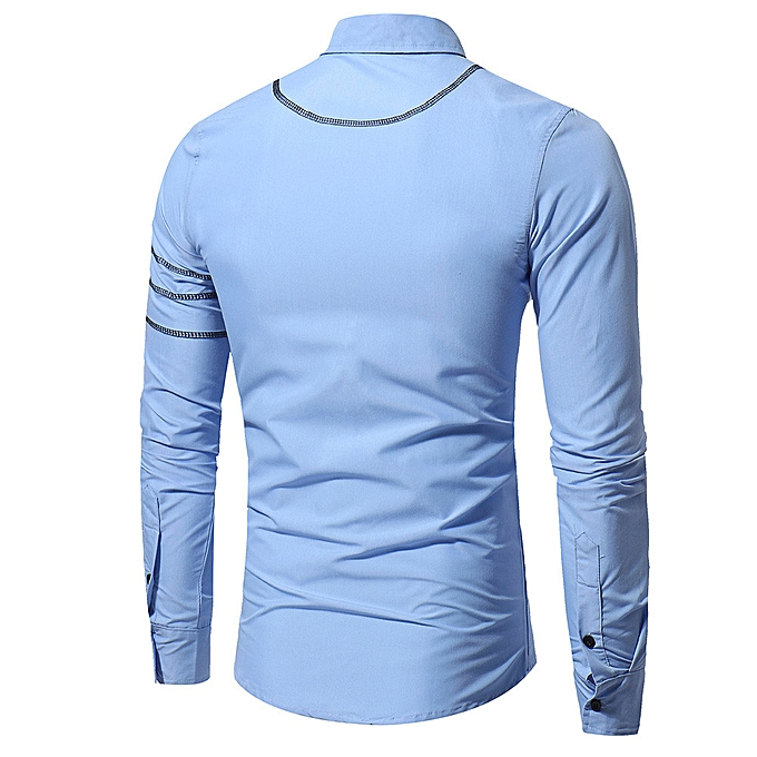 mode mode Personality Hommes& 039;s Décontracté Slim Long-sleeved Shirt Top chemisier à prix pas cher