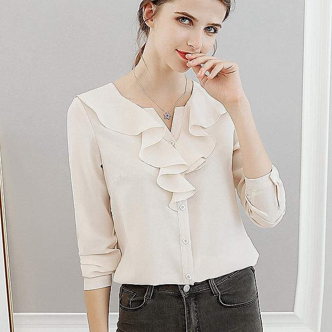 OEM nouveau Slim mode Solid Couleur manche longue Thin Wild Big Taille Décontracté Shirt-beige à prix pas cher