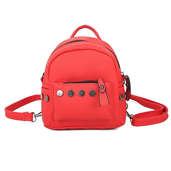 Fashion (Xiuxingzi)  Fashion femmes Backpack Good Quality Rivet School Backpacks Leather Backpack RD à prix pas cher