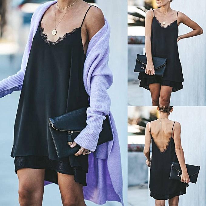 mode mode femmes Sleeveless Backless Décontracté Lace Patckwork  V-Neck été Robe à prix pas cher