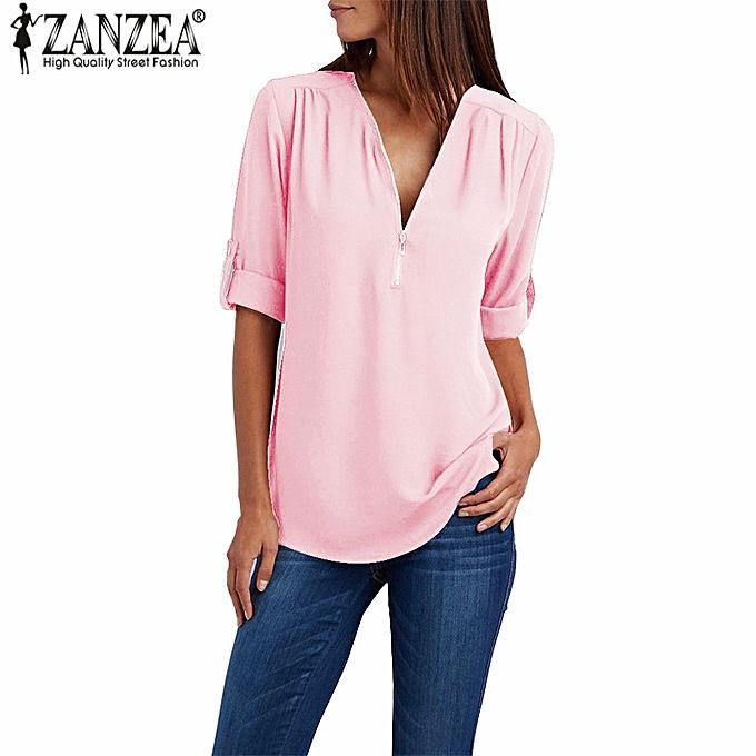 Zanzea femmes Low Cut Solid Loose Blouse Shirt Ladies Wear To Work Tops à prix pas cher