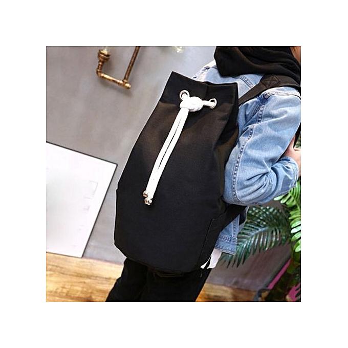 Neworldline Men Canvas Backpack Student Bags Casual Rucksack Travel Basketball Bag-noir à prix pas cher