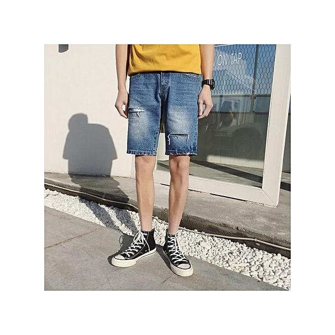 Generic Nice grand Taille Pour des hommes Hole Loose Ripped courte Jeans été courtes respirant Denim courtes Male-bleu à prix pas cher