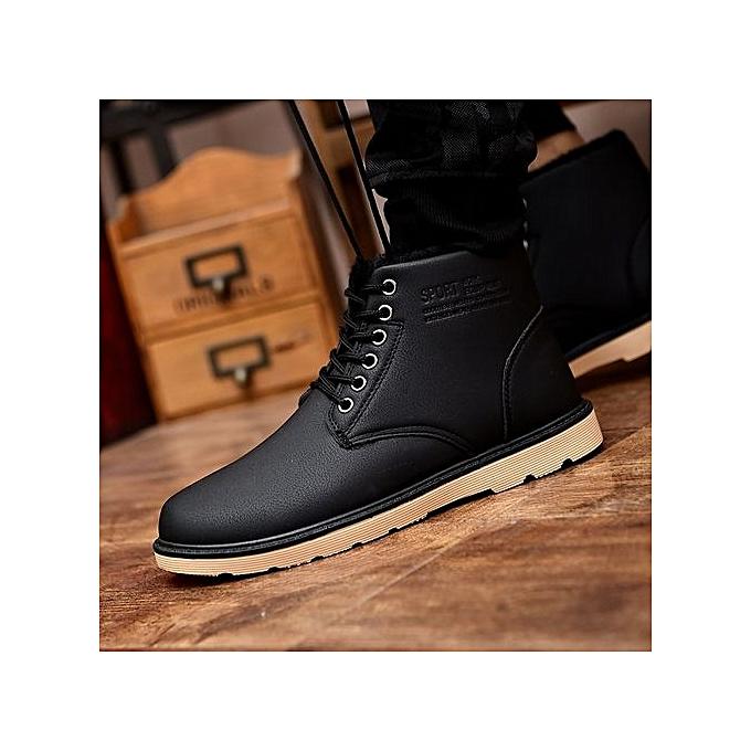 Fashion Casual Flats Fashion Work chaussures Flats Winter Warn Cotton Short Plush Male chaussures Snow Martin bottes Antiskid-noir à prix pas cher