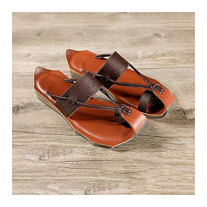 mode SOCOFY mode femmes cuir Flip Flops  Handmade Vintage Décontracté Flat Sandals à prix pas cher