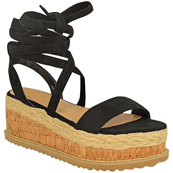 Fashion Wohommes Peep Toe Summer Sandals Wedge Flat chaussures à prix pas cher