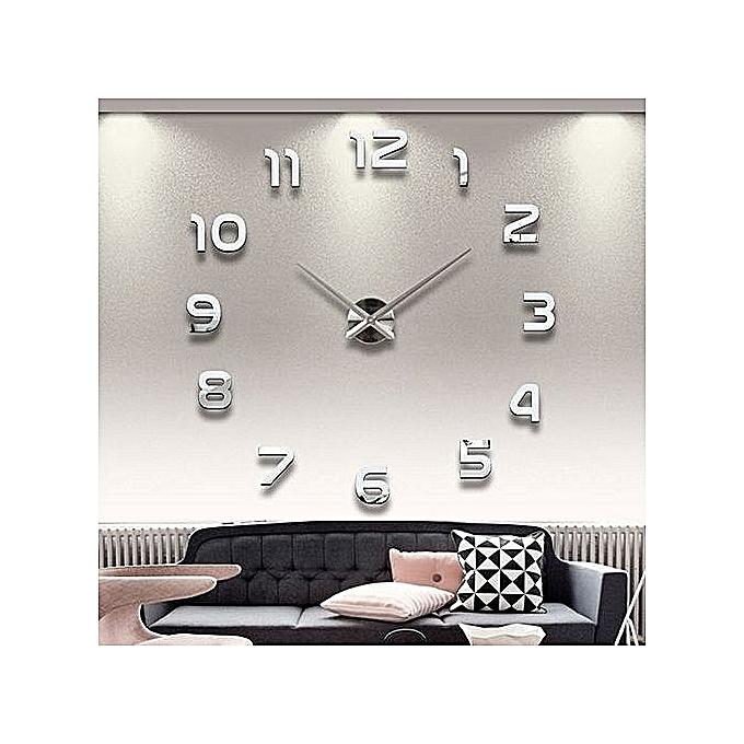 g n rique horloge murale 3d design argent. Black Bedroom Furniture Sets. Home Design Ideas