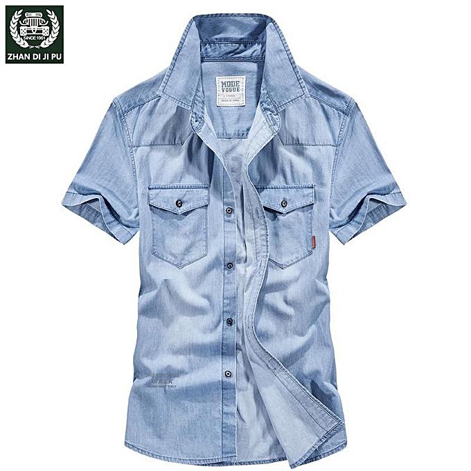 GENERAL Men's Summer New Short Shirt Thin Business Casual Half Sleeve Shirt Tide Men Short Sleeve Denim Shirt à prix pas cher