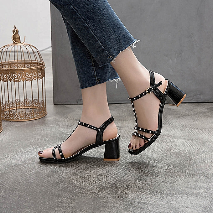 Fashion jiahsyc store High-Heeled Wohommes chaussures Sandals Summer Thick With Wedges LadiesCasual chaussures à prix pas cher