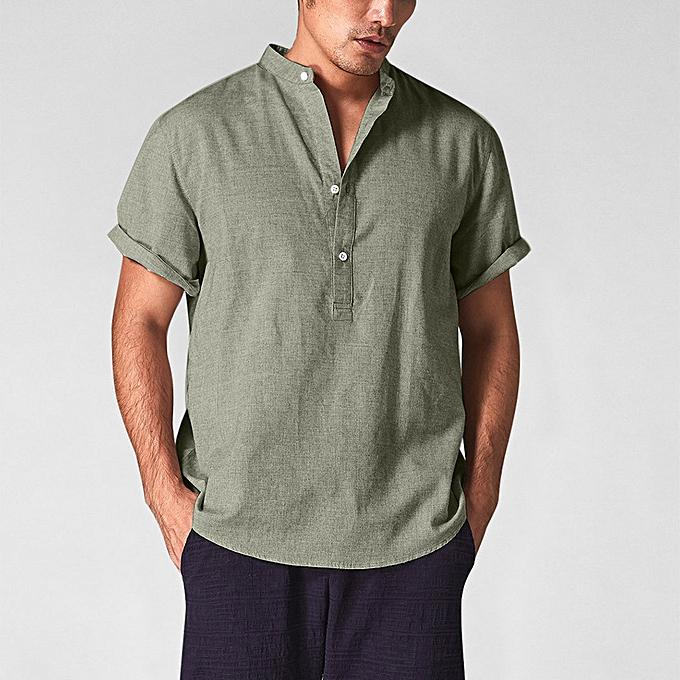 mode jiahsyc store été Hommes& 039;s Cool And Thin respirant Collar Hanging Dyed Gradient Cotton Shirt à prix pas cher