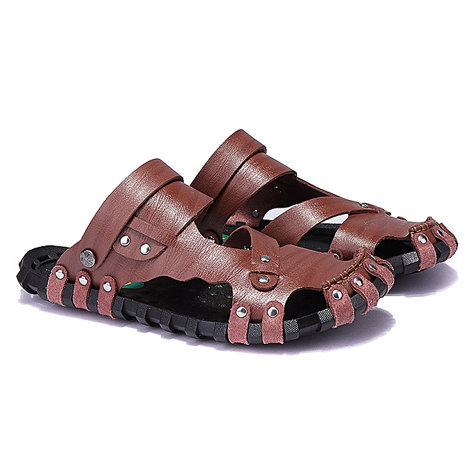 Fashion Men Summer Leather Sandals Close Toe Outdoor Beach Slippers Soft Casual chaussures à prix pas cher