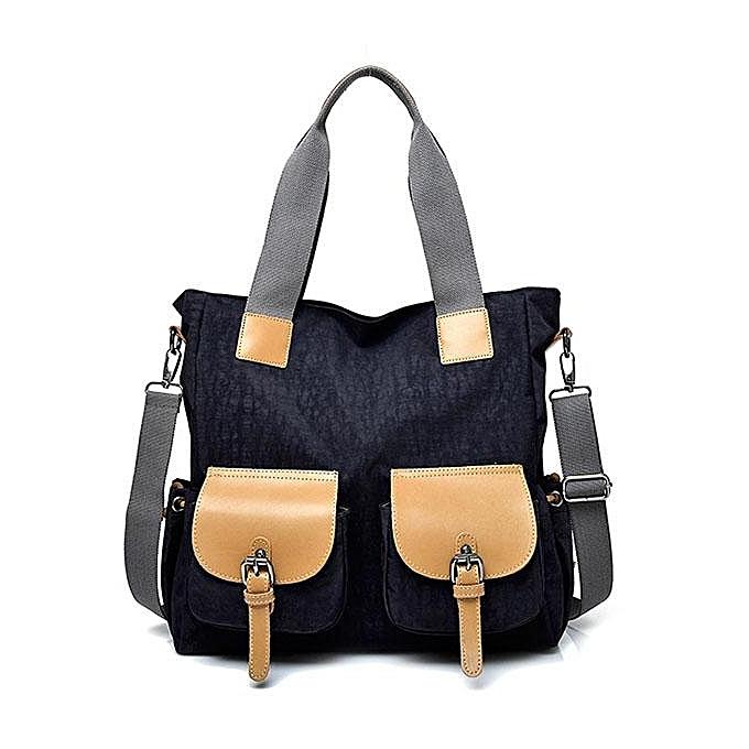 mode femmes Nylon Front Pockets Tote Handsacs Décontracté Shoulder sacs capacité Shopping bandoulière sacs  noir à prix pas cher