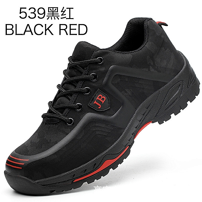 OEM Labor insurance chaussures hommes lightweight breathable chaussures steel toe caps anti-smashing anti-piercing site chaussures-noir rouge à prix pas cher