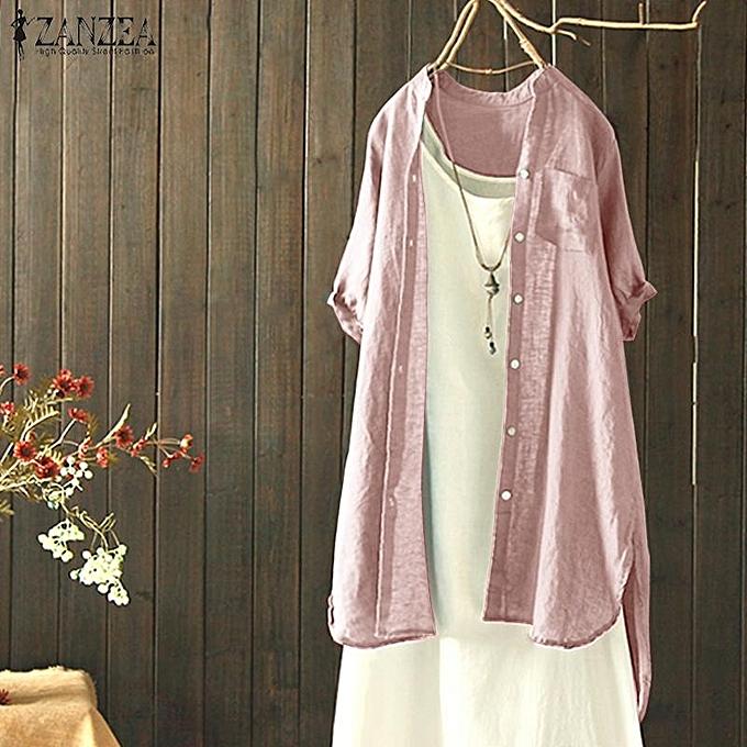 Fashion ZANZEA femmes Cotton Casual Plain Shirt Tops Buttons Down Asymmetrical Cotton Blouse New à prix pas cher