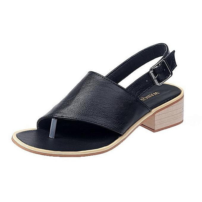 Other Leather Strap Flip Flops Slippers Square Heel Sandals à prix pas cher