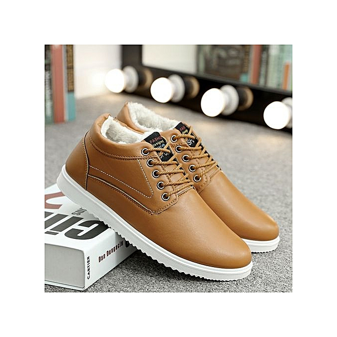 Generic Hommes's cotton chaussures Décontracté chaussures plus velours hommes chaussures Korean version of the tide to keep warm chaussures-khaki à prix pas cher