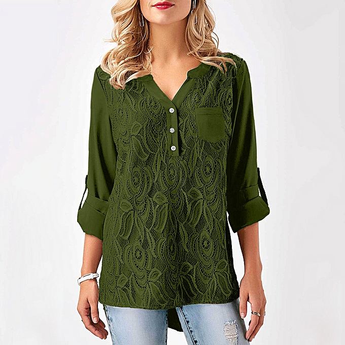 mode Hiamok femmes Ladies Lace Button T-Shirt manche longuel hauts chemisier AG M à prix pas cher