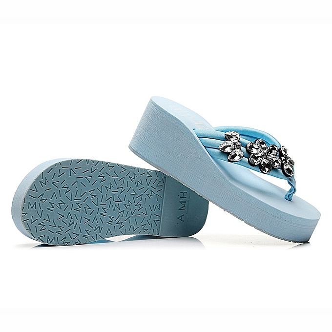 Fashion (Xiuxingzi) femmes Hand-made Crystal Wedges Flip Flops Sandals Slippers Beach chaussures à prix pas cher