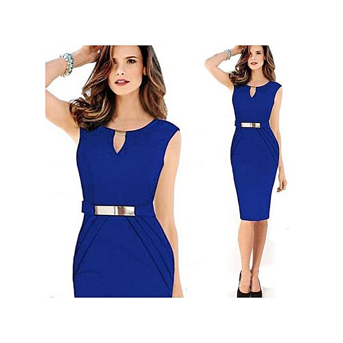 Generic femmes& 039;s Sleeveless V-neck Solid Vestidos Knee-longueur Elbise Bodycon Robe Office Work Décontracté OL Robees à prix pas cher