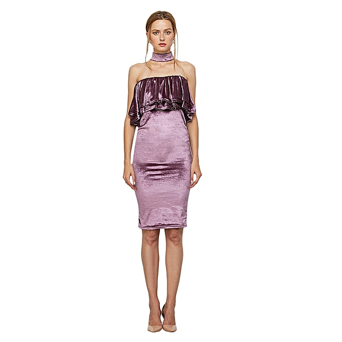 OEM Sexxy Sleeveless Backless Ruffles Dress for femmes (violet) à prix pas cher