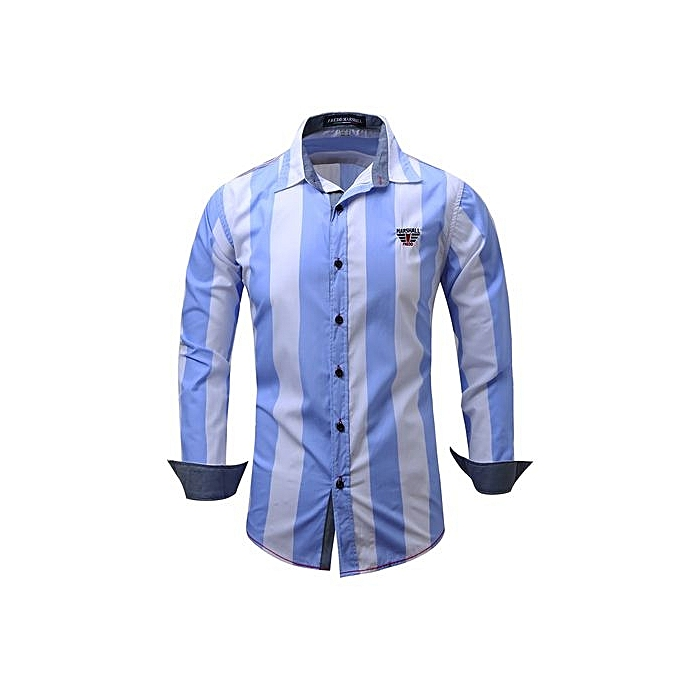 Generic Refined Men's Leisure Shirts Long Sleeved Shirts Turn-down Collar Cowboy Split Joint Stripe Printing  Large Taille Personality Shirts à prix pas cher