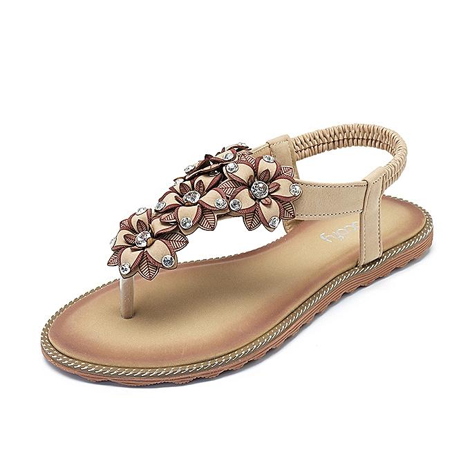 Fashion SOCOFY femmes Bohemian Casual Beach Soft Flat Sandals à prix pas cher