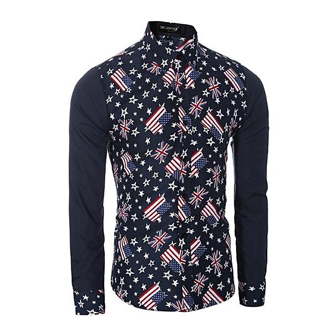 mode F Pour des hommes Décontracté Shirts manche longue Slim Fit impression hauts T-shirt BU M à prix pas cher