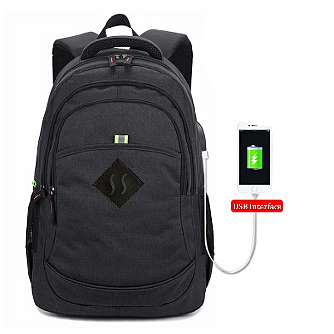 Fashion Men Backpack Waterproof Travel Bag femmes Book Bag With USB -noir à prix pas cher