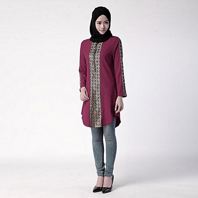 mode Hiamok Muslim femmes Islamic Print Plus Taille Muslim service hauts Easy chemisier à prix pas cher