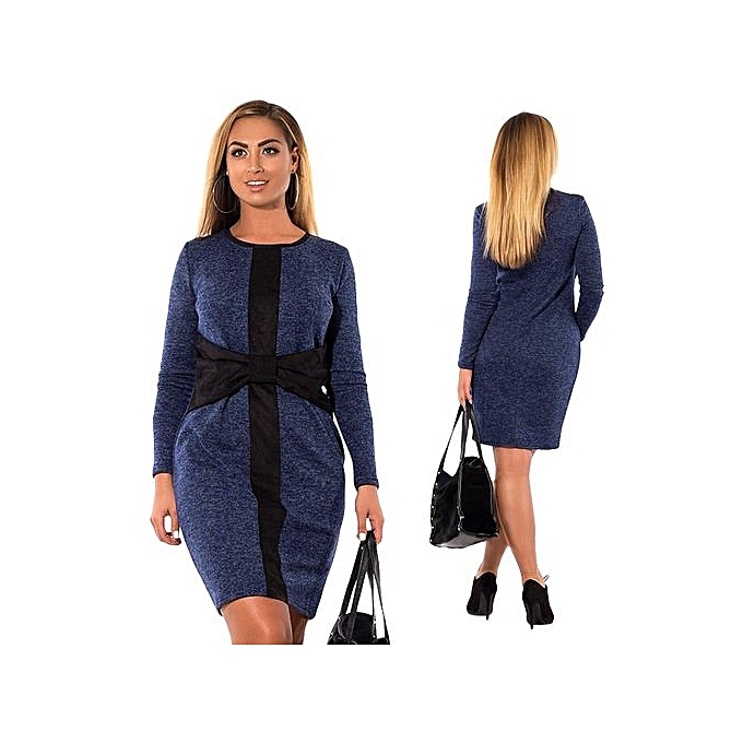 Fashion femmes Dresses Large Taille Winter Warm Dress Casual Elegant Office Dresses-bleu à prix pas cher