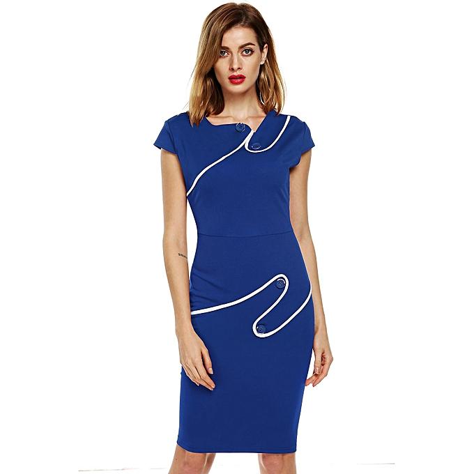 Sunshine ACEVOG Stylish Lady femmes\'s Fashion Irregular Neck Bodycon Slim Straight Dress-bleu à prix pas cher