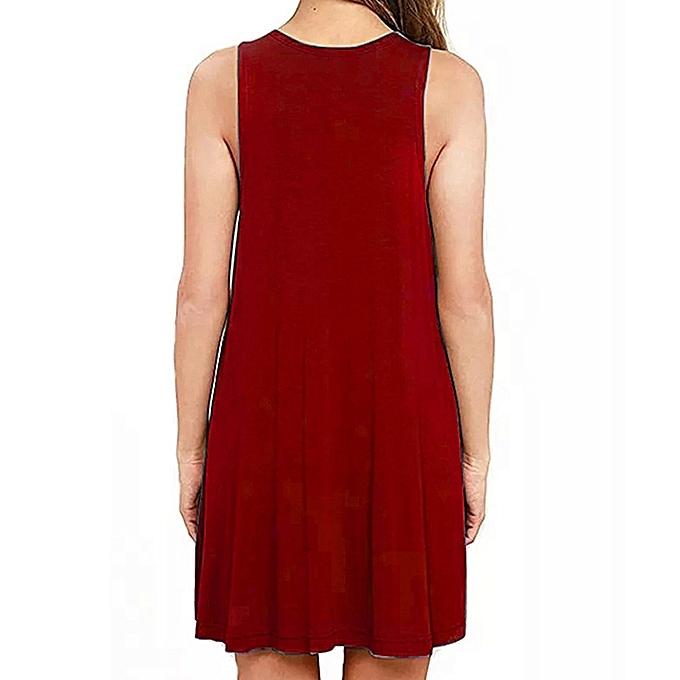 Fashion Wohommes Casual Simple V-Neck Solid Couleur Pleated Loose Summer Vest Dress à prix pas cher
