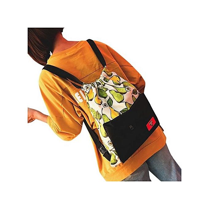 nouveauorldline femmes Teenage Girl Boy Print Zipper sac à dos School sacs mode Shoulder sac- noir à prix pas cher