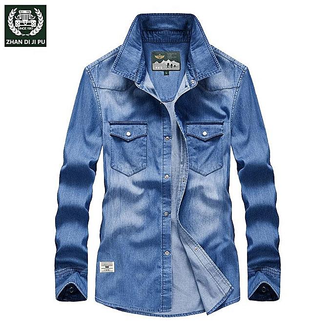 GENERAL New hommes denim shirt long-sleeved casual cotton spring and autumn shirt à prix pas cher