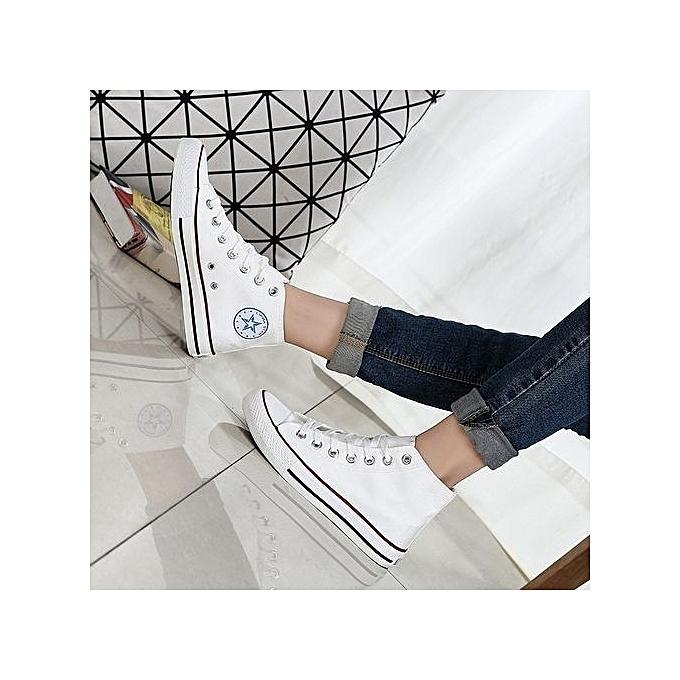OEM New classic canvas chaussures vulcanized hommes chaussures couple models student chaussures autumn Korean version-blanc à prix pas cher    Jumia Maroc