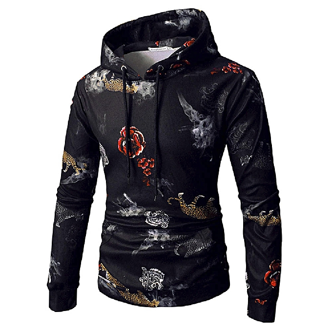 Fashion Men's Long Sleeve Printed Hoodie Hooded Sweatshirt Top Tee Outwear Blouse à prix pas cher