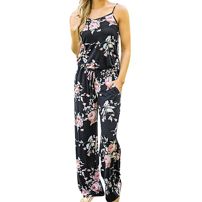 mode (Xiuxingzi) Boho femmes Floral Sleeveless Holiday Long Playsuits Rompers Jumpsuit BK L à prix pas cher