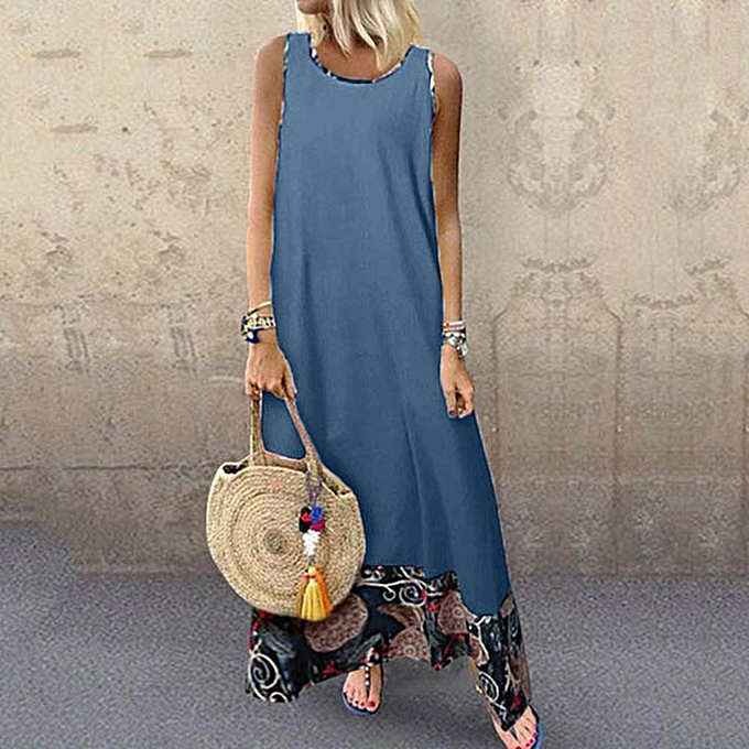 Fashion Summer Vacation Holiday femmes  Casual Sleeveless Loose Ladies Length  Dresses à prix pas cher