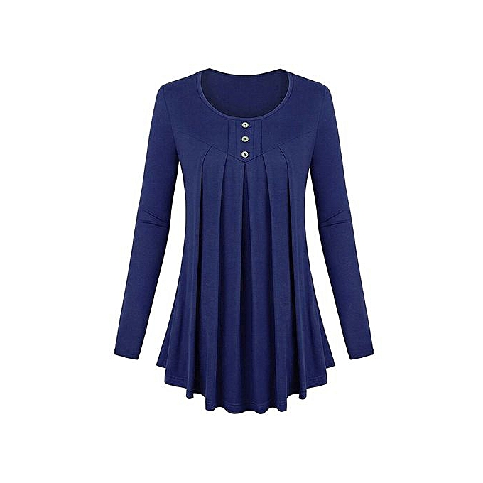 Generic femmes Basic Solid Row Pleats Long Sleeve Single-Breasted Top T-Shirt Blouse à prix pas cher