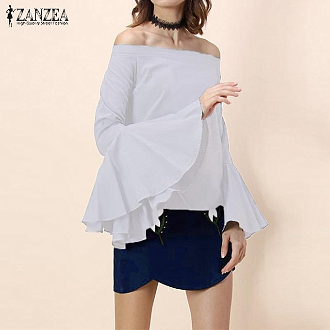 Zanzea ZANZEA femmes Elegant Flare Long Sleeve Ruffles Off Shoulder Summer Shirt Slash Neck Casual Party Blouse OverTailled (Off blanc) à prix pas cher