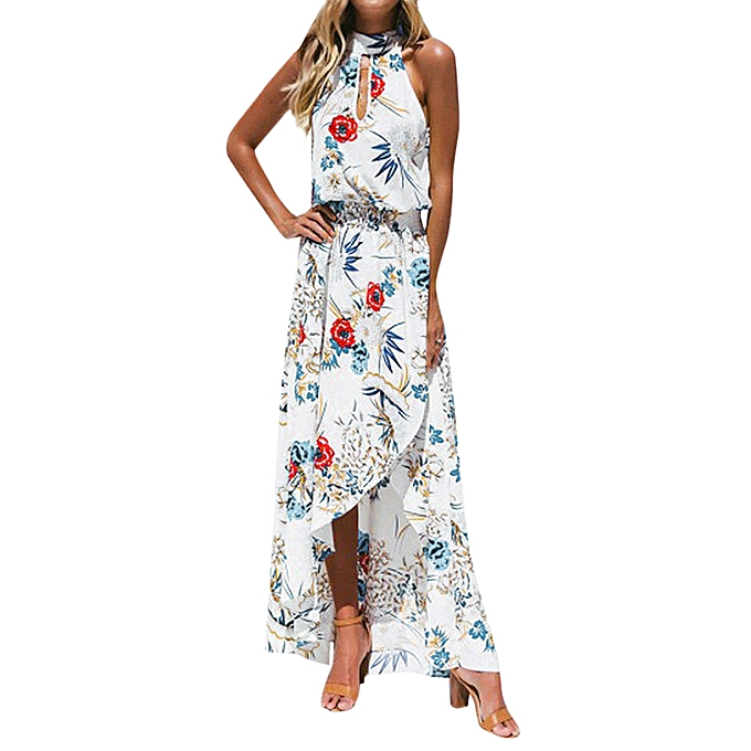 Fashion schoolcool femmes Boho Floral Long Maxi Dress Sleeveless Evening Party Summer Beach Sundress à prix pas cher