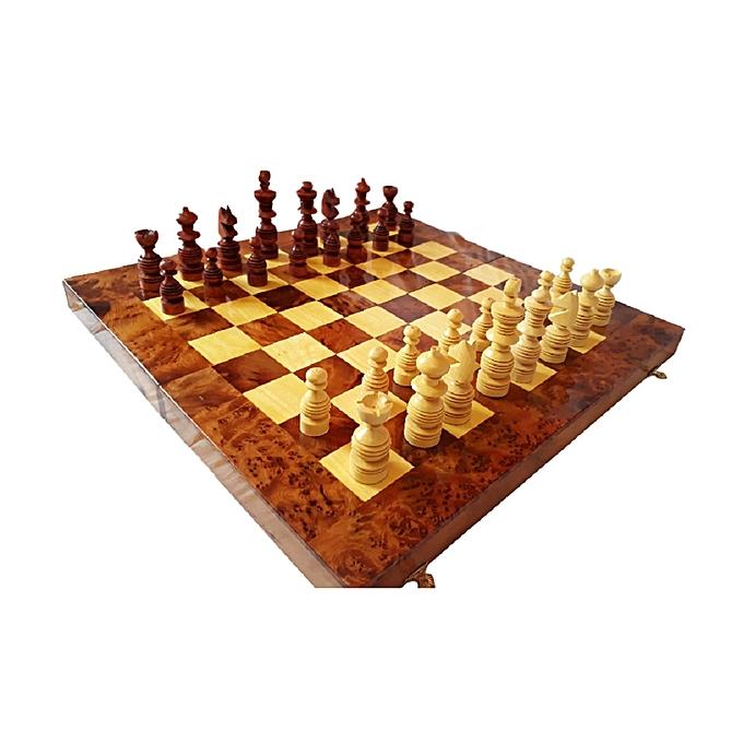 Generic Boîte Jeu d'échecs artisanale en bois de thuya . ''Khachab Al-Araar'' 40  x 40 cm. Idée cadeau. à prix pas cher