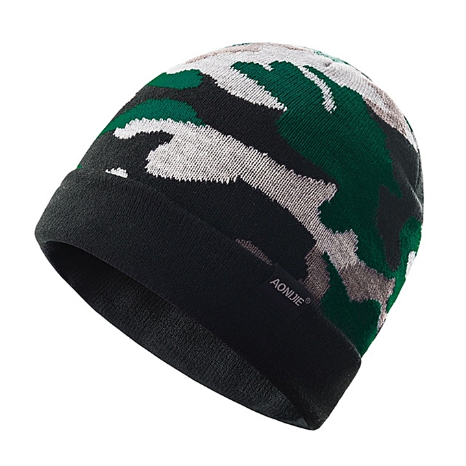 AONIJIE Unisex Windproof Warm Sports Slouchy Cuffed Knit Beanie Hat Skull Cap For Running Jogging Marathon Travelling Cycling(Camouflage vert) à prix pas cher