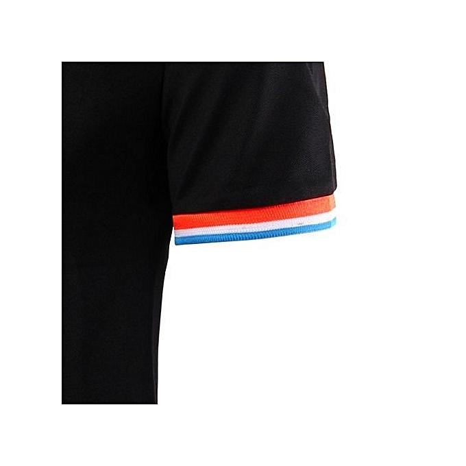 Cuena Fashion Short Sleeve Men's Polos Turn-down Collar Casual Shirt Top BK L-noir  L à prix pas cher