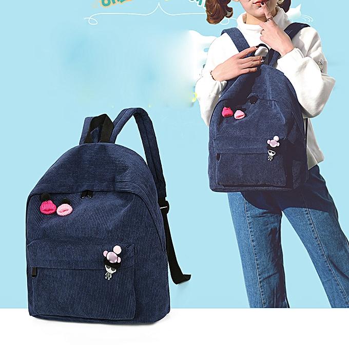 mode whiskyky store femmes Corduroy sac à dos Girl School mode Shoulder sac sac à dos voyage sacs BU-bleu à prix pas cher