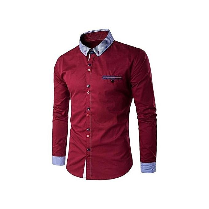 Fashion Chemise Class Manches Longues Pour Homme - Vin rouge à prix pas cher