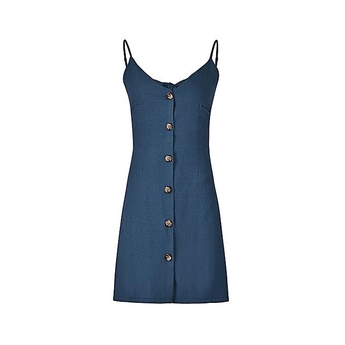 Generic Nice Solid Couleur Strap V-neck Back Strap Single-Breasted Dress-bleu à prix pas cher
