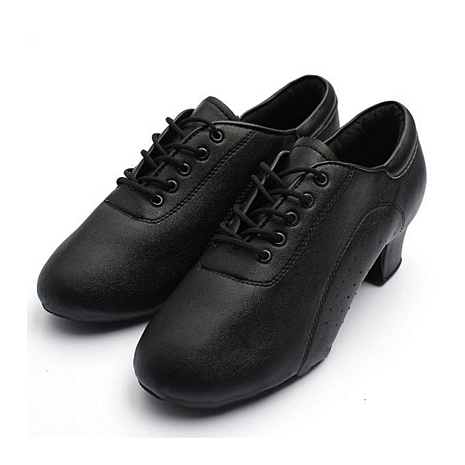Fashion Adult Mens noir Latin Ballroom Mid Heel Tango Salsa Waltz Dancing Leather chaussures noir-EU à prix pas cher